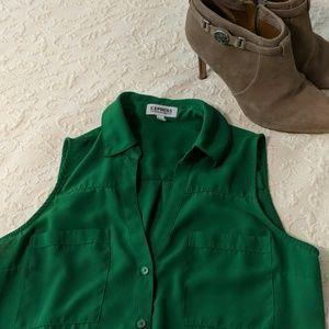 Express Portofino Sleeveless Shirt, M, Emerald